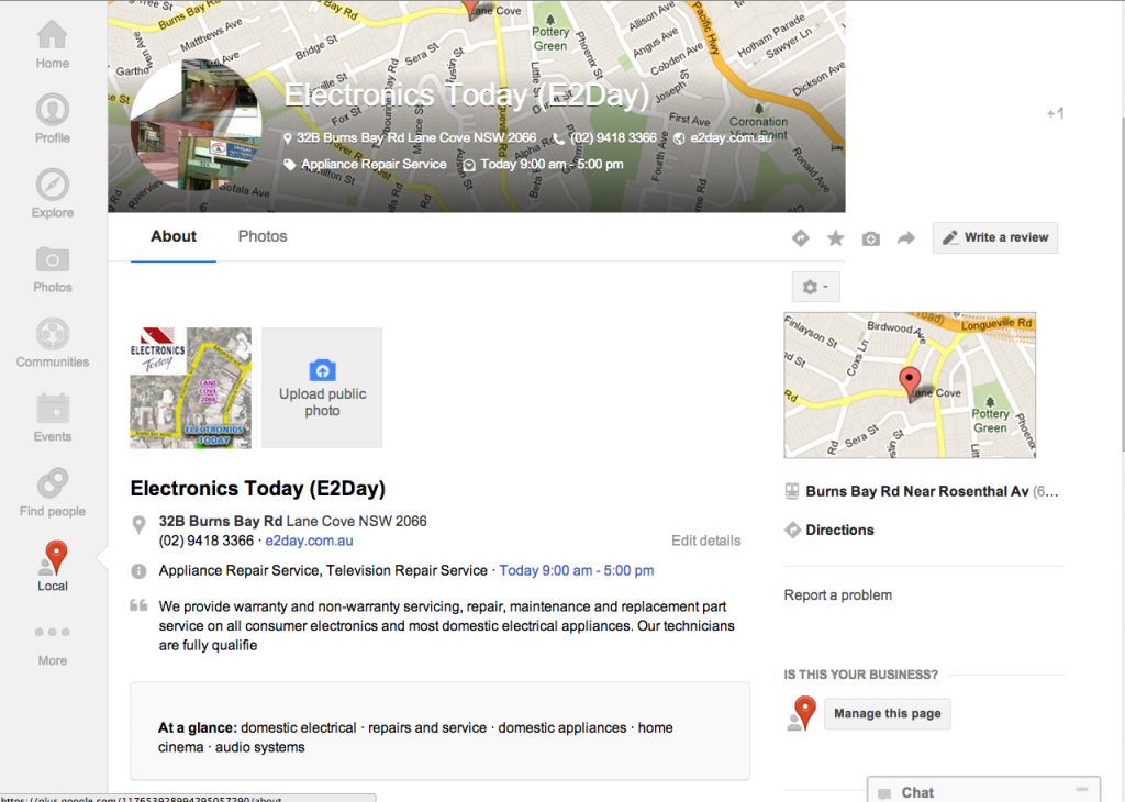 how to optimize google local page